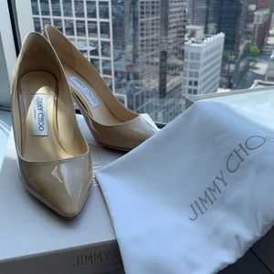 Jimmy Choo Romy 85mm Nude Patent Pumps 36.5